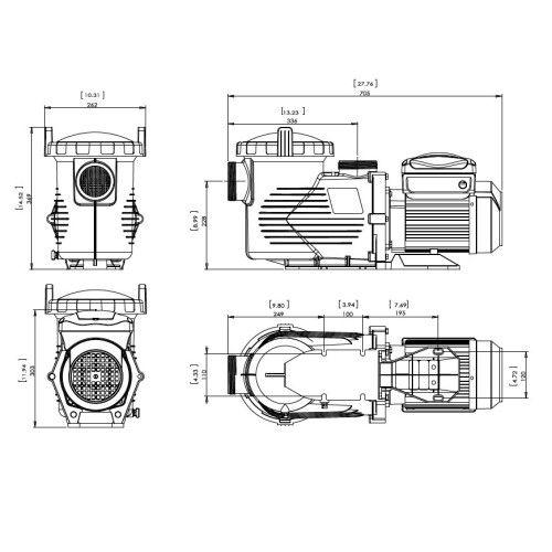 Насос центробежный Emaux EPV200 (220В, 29м3/ч, 2HP)