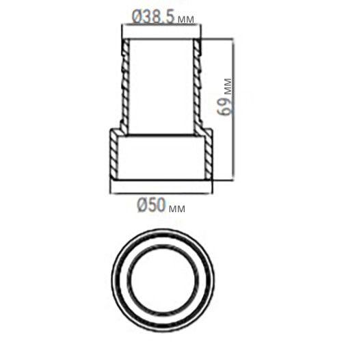 Соединитель шланга клеевой Emaux 38х50 мм