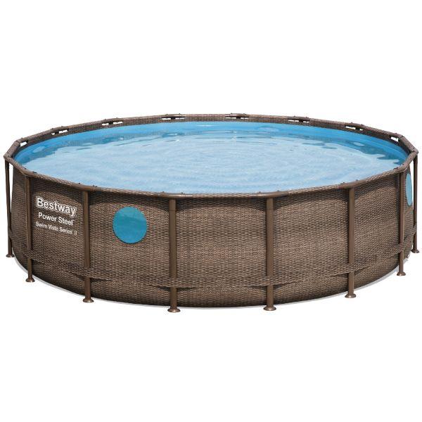 Каркасный бассейн Bestway Ротанг 56725 (488х122) + катриджевый фильтр,лесница,тент