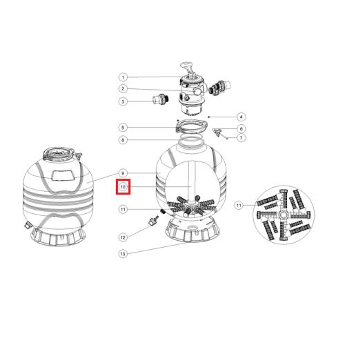 Дюзовая коробка корзина с тубой для фильтров MFV35/MFV27А/MFS31