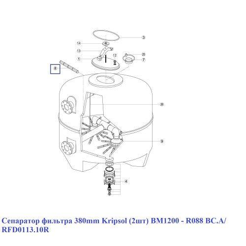 Сепаратор фильтра 380 мм (2шт) BM1200 - R088 BC.A/ RFD0113.10R Kripsol