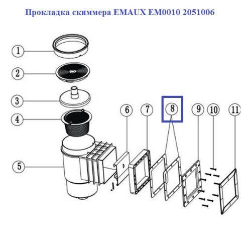 Прокладка скиммера EM0010 Emaux