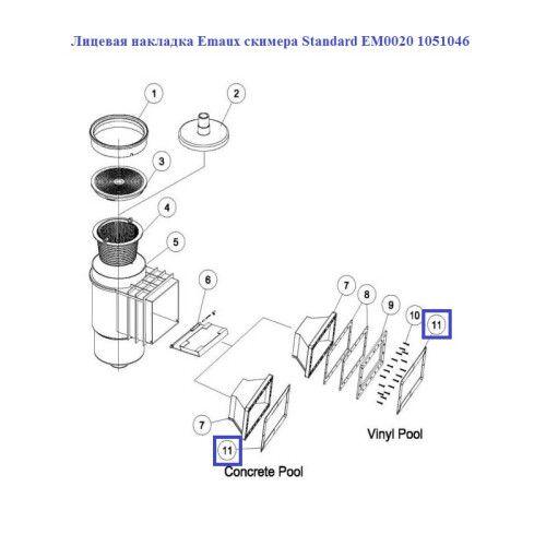 Лицевая накладка Emaux скимера EM0020 Standard