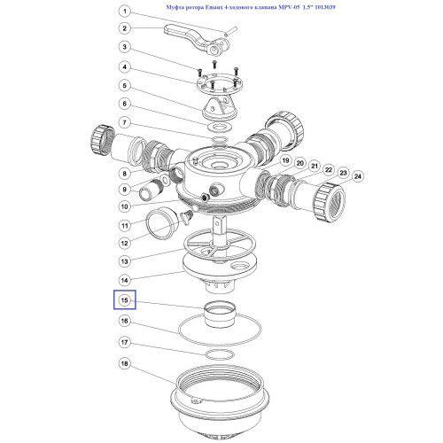 """Муфта ротора Emaux 4-ходового клапана MPV-05 1.5"""""""