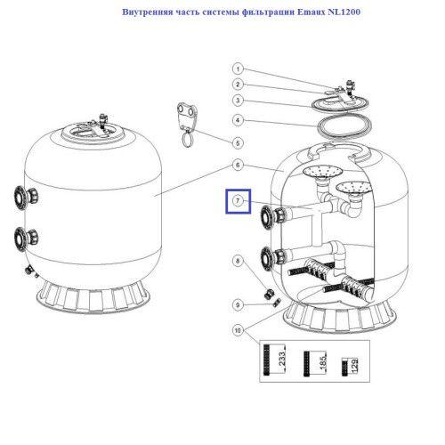 Внутренняя часть системы фильтрации Emaux NL1600 89012815