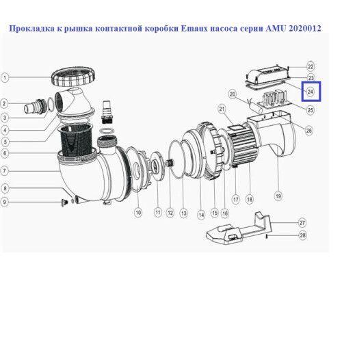Прокладка крышка контактной коробки насоса серии AMU Emaux