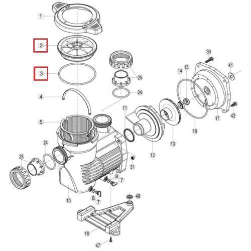 Крышка префильтра с уплотнительным кольцом для насосов K-FLO Hayward