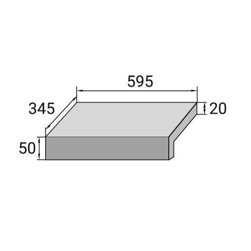 Бортовая плитка Г-образная Aquaviva Montagna Light Gray, 595x345x50(20) мм