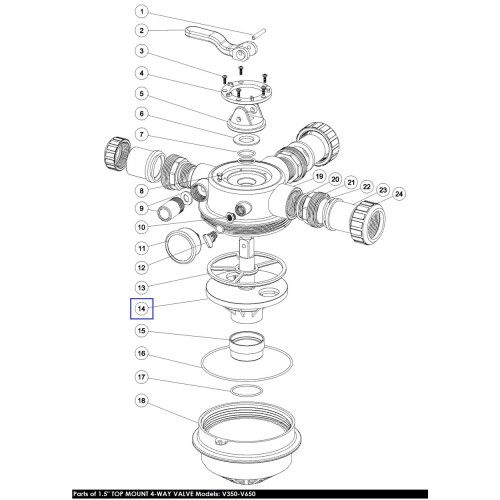 "Ротор клапана 1.5"" for V350-V650, FSP series, 4-way MPV05 Emaux"