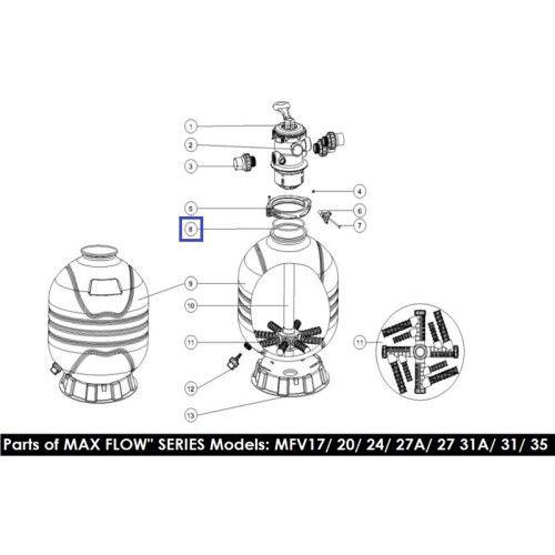 Резиновая прокладка под 6-поз кран для фильтра MFV (2010007) Emaux