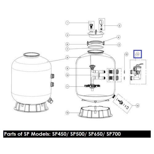 Кран шестиходовой 1,5'' c бок подл к фильтрам серии MFS Emaux