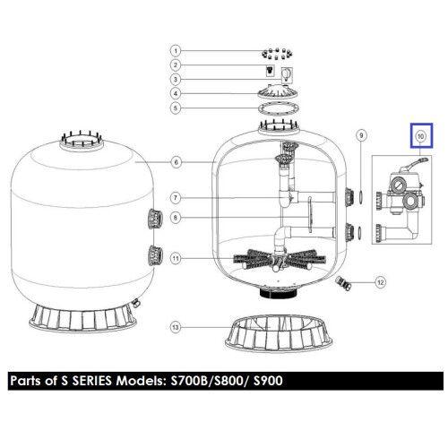 Кран шестиходовой MPV04 (2'') S700-S1200 боковой Emaux
