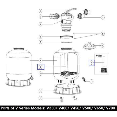 Дюзовая коробка в комп-ке с трубой V700 89010102 Emaux