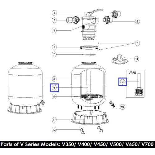 Дюзовая коробка с трубой для фильтров серии V350 (89010106) Emaux