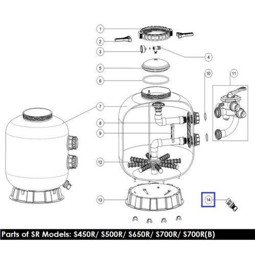 Дренажный клапан для фильтров серии V, S (89010107) Emaux