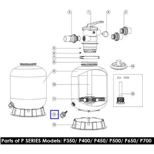 Дренажный клапан для фильтров серии MFV, MFS, P, SP Emaux