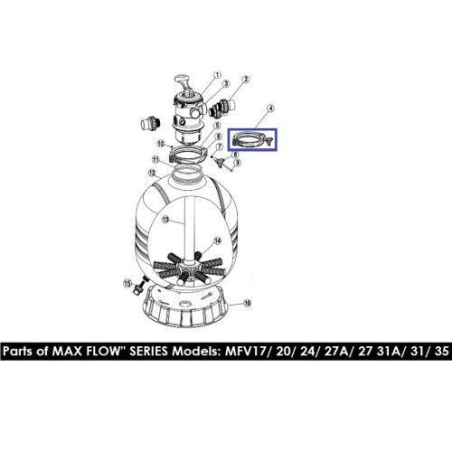 Хомут крепления 6-ти поз кран для фильтров серии MFV 89012512 Emaux
