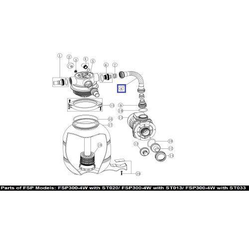 Шланг подключения фильт-насос с муфтами FSP300 89030202 Emaux