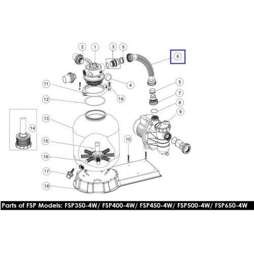 Шланг подключения с муфтами для ф/у FSP400-4-Way (89030401) Emaux