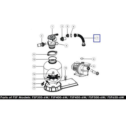 Шланг подключения с муфтами для ф/у FSP450-6 Way (89031701) Emaux