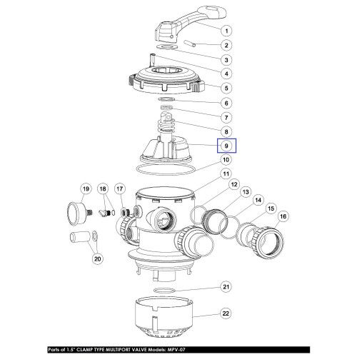 """Ротор клапана MPV-07, 1.5"""" с прокладкой """"Паук"""" Emaux"""