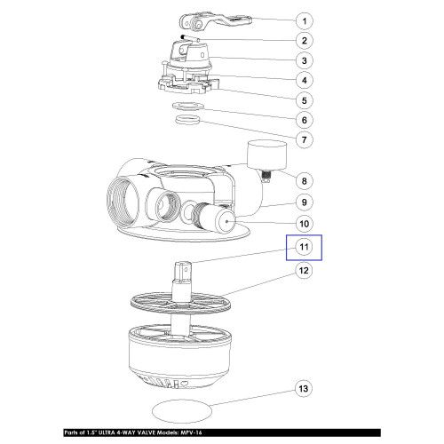 "Ротор для 4-поз. клапана 1.5"" MPV-16 (89281601) Emaux"