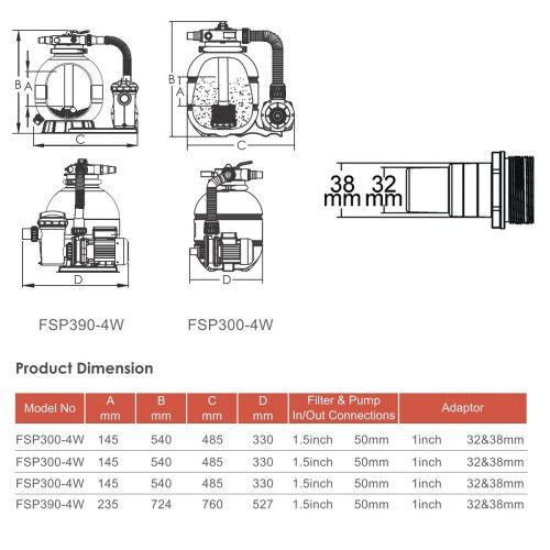 Фильтрационная установка с верхним подключением Emaux FSP390-SD75 (8 м3/ч, D400)