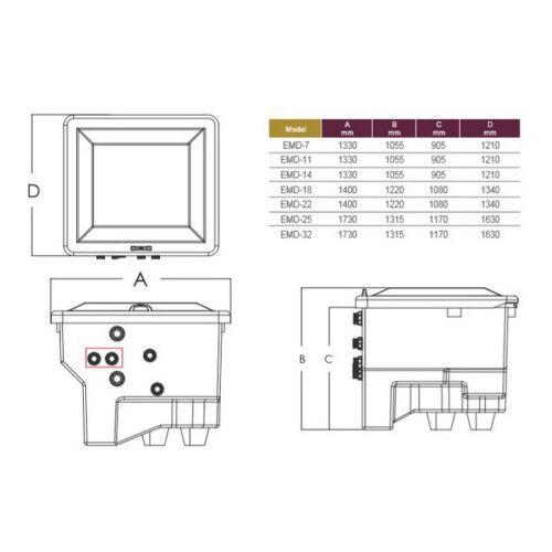 Комплексная фильтрационная установка с боковым подключением Emaux EMD