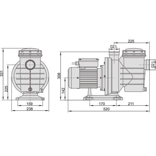 Насос центробежный AquaViva LX SWIM050T (380В, 12 м3/ч, 1HP)