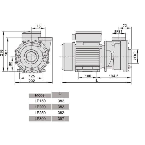 Насос центробежный AquaViva LX LP300M (220В/380В, 35 м3/ч, 3HP)