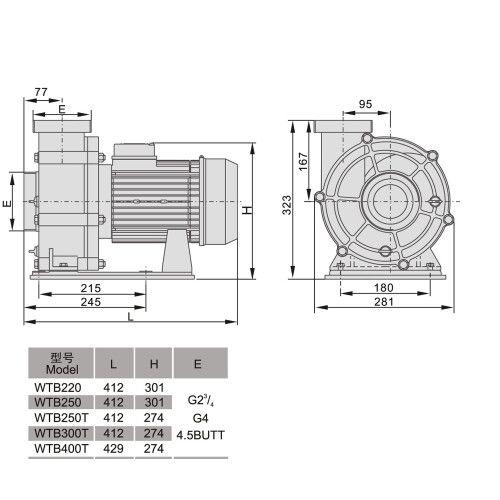 Насос центробежный Aquaviva LX WTB400T (380В, 80 м3/ч, 5.5HP)
