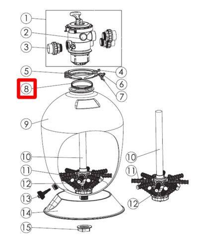Резиновая прокладка под 6 ти поз кран для фильтра серии T