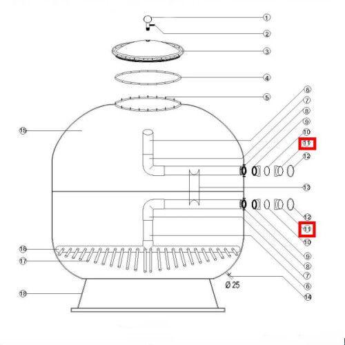Фланец для крепления 5 крановой обвязки 1050-1250 мм Aquaviva