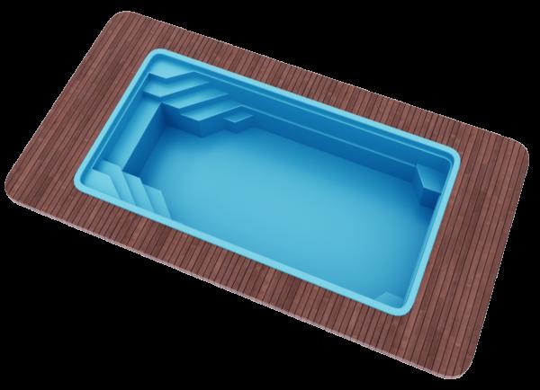 "Стекловолоконный бассейн 6,50х3,70х1,50 ТМ ""Голубая лагуна"""