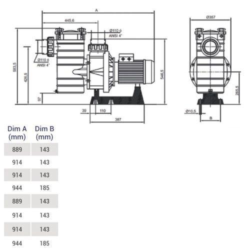Насос для фильтрационной установки Hayward KAP350 T1.B/ T1 IE3 ( 58 м3 / ч, 380V )