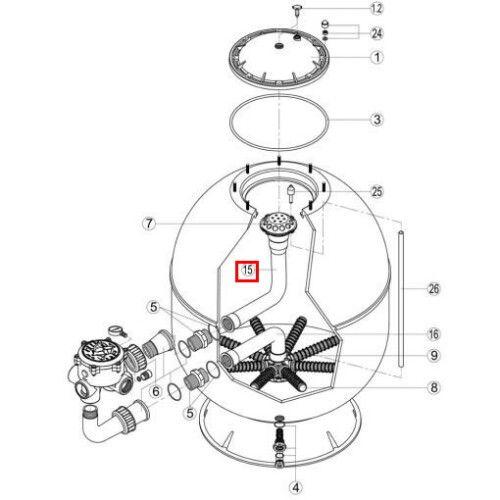 Колено для коллектора фильтра AK520 (RRFI0015.00R/RFD0410.30R) Kripsol