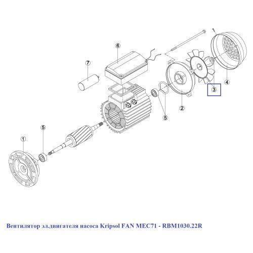 Вентилятор эл.двигателя насоса TR/TT/BCD  FAN MEC71 M2 Kripsol