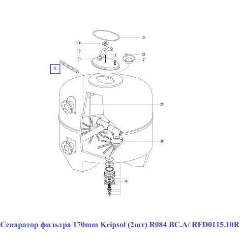 Сепаратор фильтра 170mm (2шт) SSB640 R084 BC.A/ RFD0115.10R Kripsol