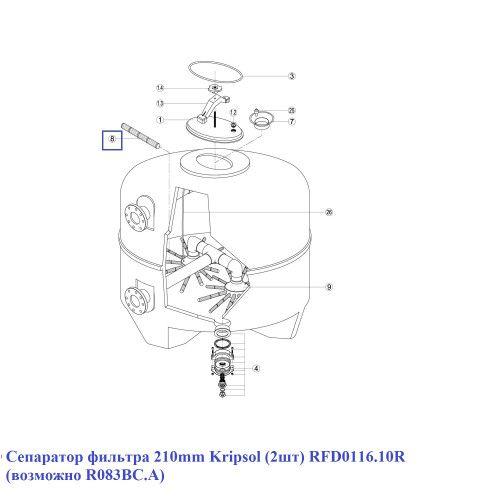 Сепаратор фильтра 210mm (2шт) RFD0116.10R Kripsol