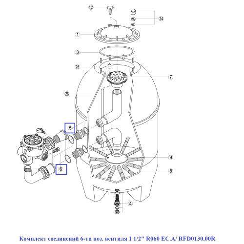 """Комплект соединений 6-ти поз. вентиля 1 1/2"""" R060 EC.A Kripsol"""