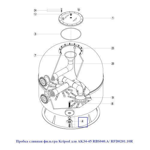 Пробка сливная фильтра для AK34-45 RBS040.A/ RFD0201.10R Kripsol