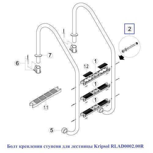 Болт крепления ступени для лестницы Kripsol