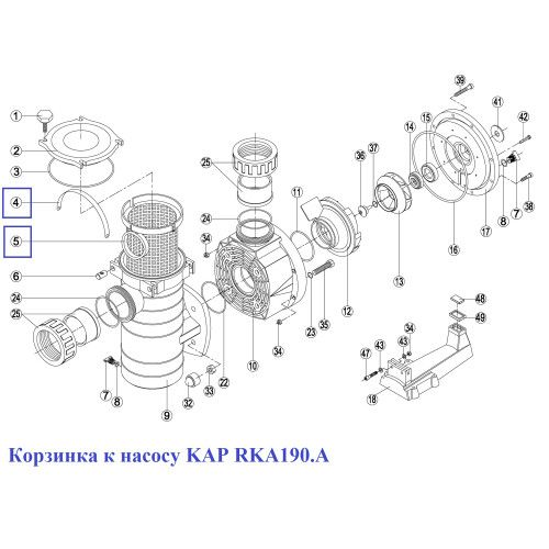 Корзина насоса KAP - RKA 190.A/ RBH0003.05R Kripsol
