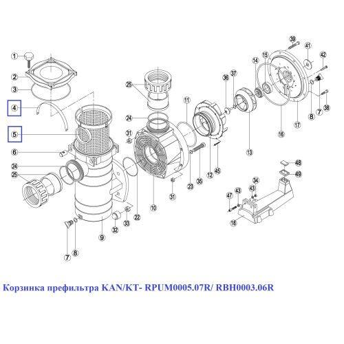 Корзинка префильтра KAN/KT- RPUM0005.07R/ RBH0003.06R Kripsol