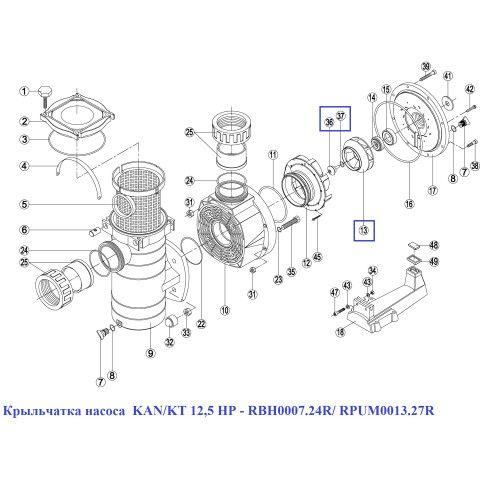 Крыльчатка насоса KAN/KT 12,5 HP, BCP 12,5 HP Kripsol