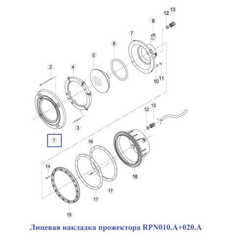 Накладка лицевая прожектора RPN010.A+020.A