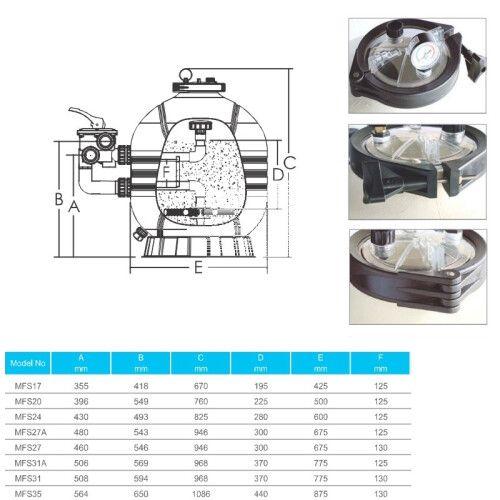 Фильтрационная бочка с боковым подключением Emaux MFS35, 30.5 м3 / ч