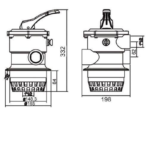 "Кран шестиходовой MPV01 (1,5"") верхний Emaux"