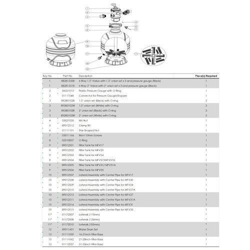 Фильтрационная бочка с верхним подключением Emaux MFV17, 7.0 м3 / ч