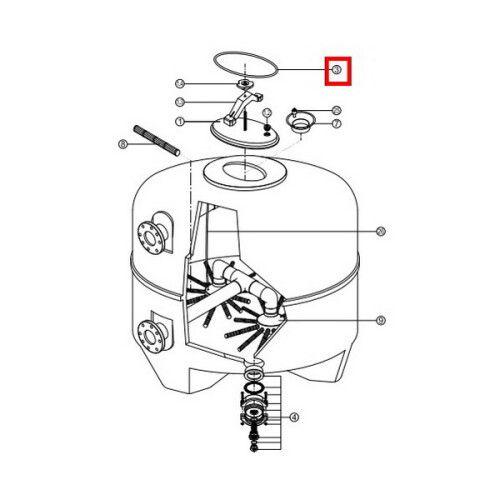 Прокладка-кольцо крышки бочки фильтра - RBK 030.A/500311000301/RCFI0003.01R BL BRASIL